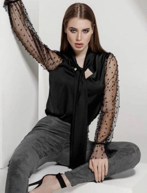 Μάυρη μπλούζα με balloon μανίκια