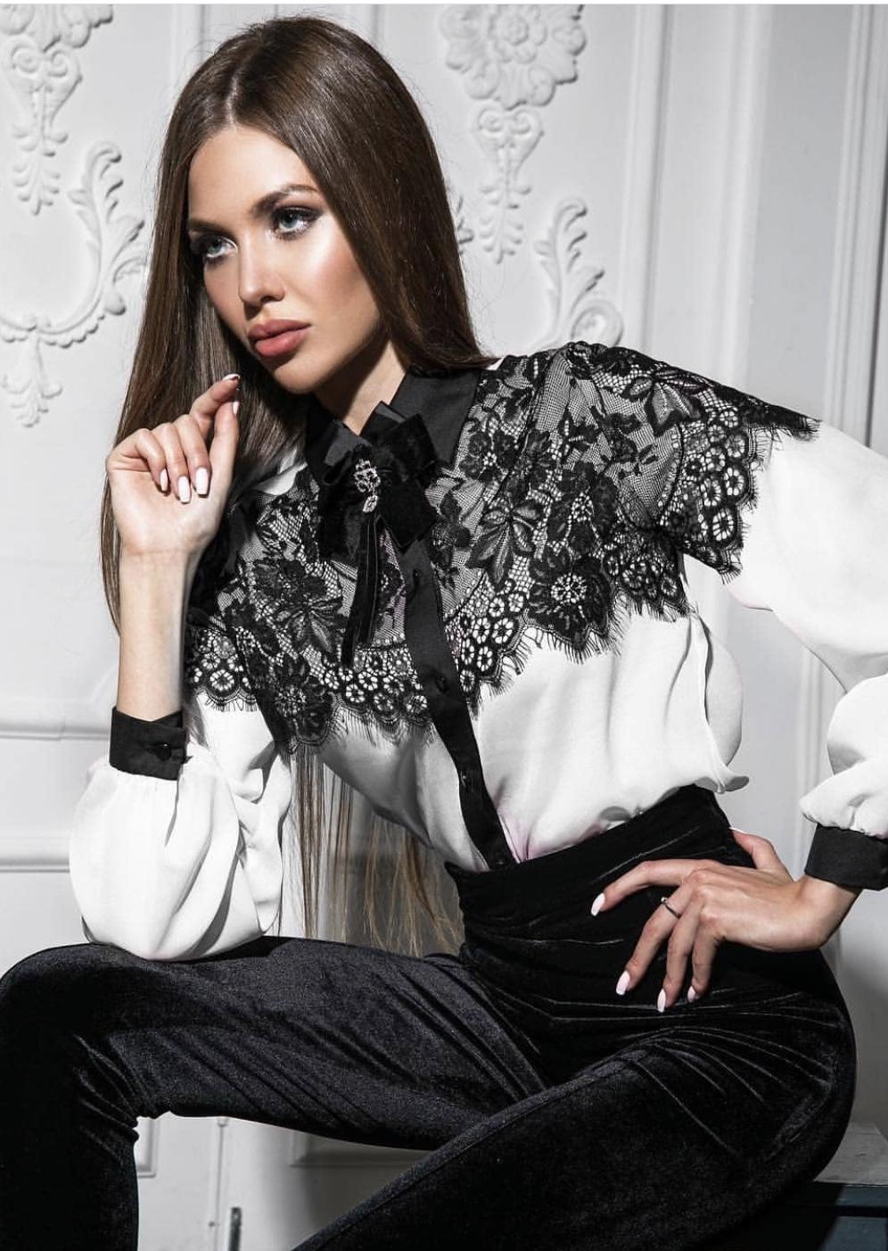 d90d4d8a1fd8 Πουκάμισο με μάυρη δαντέλα Fashionchoice