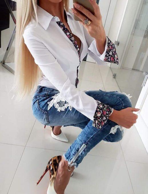 Βανβακερό πουκάμισο με φλόραλ σχέδια