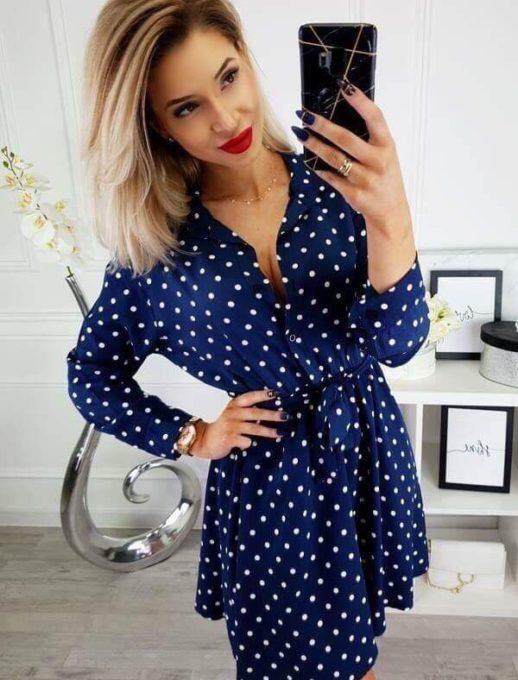 Μπλε φόρεμα Αλεξάνδρα με πουά