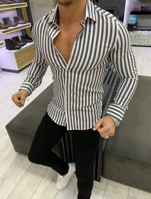 Ριγέ ανδρικό πουκάμισο