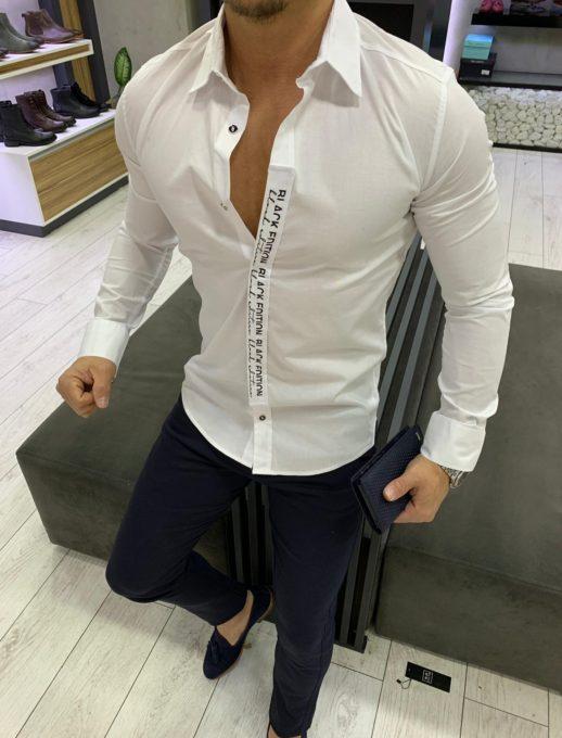 Λευκό ελαστικό πουκάμισο