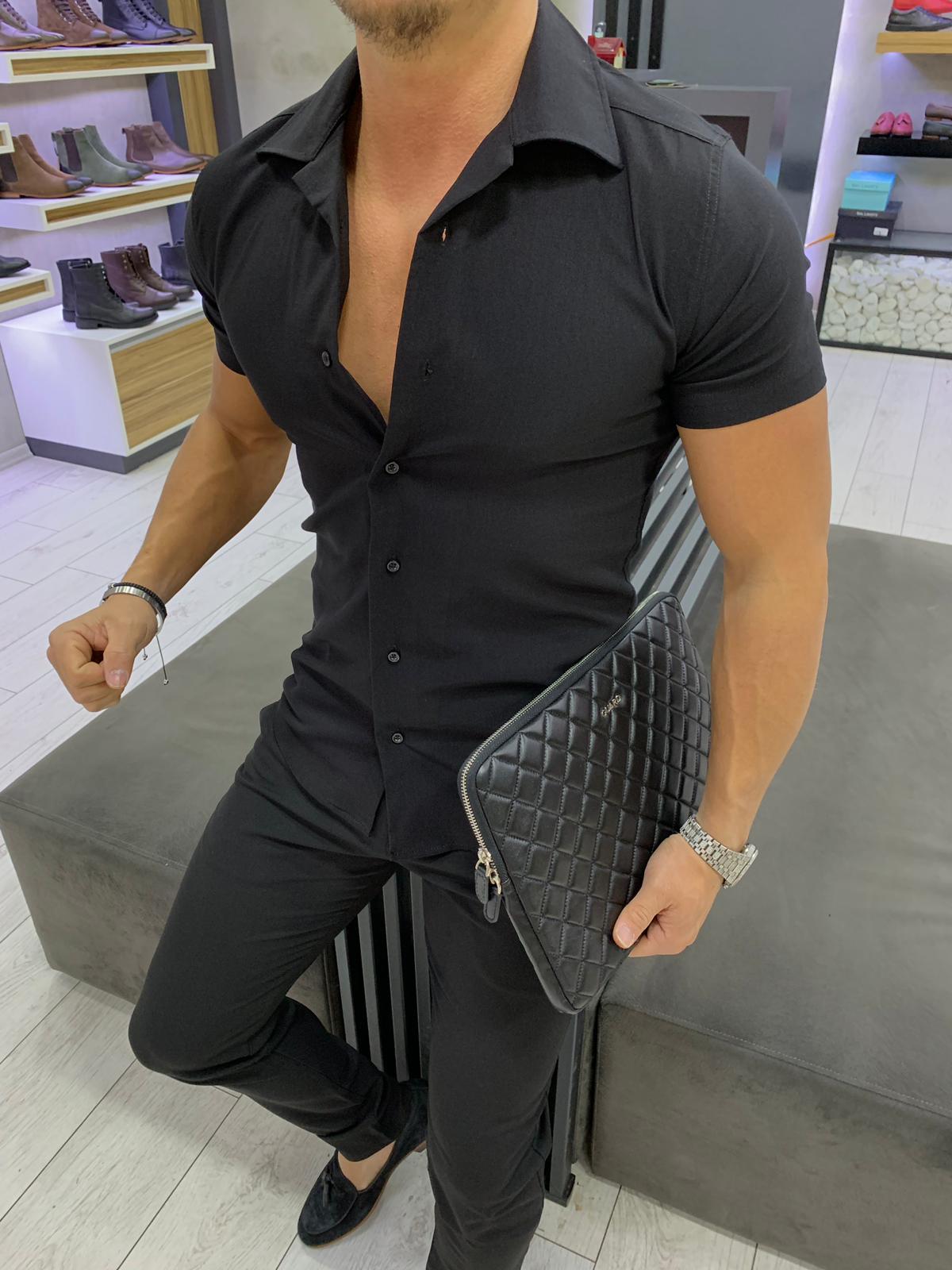 668ca872f768 Μαυρο ανδρικό πουκάμισο super slim