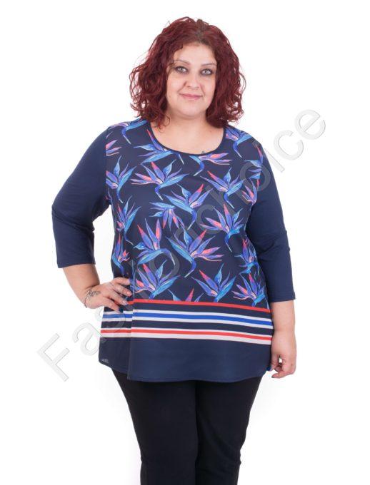 Κομψή γυναικεία maxi μπλούζα με floral σχέδια