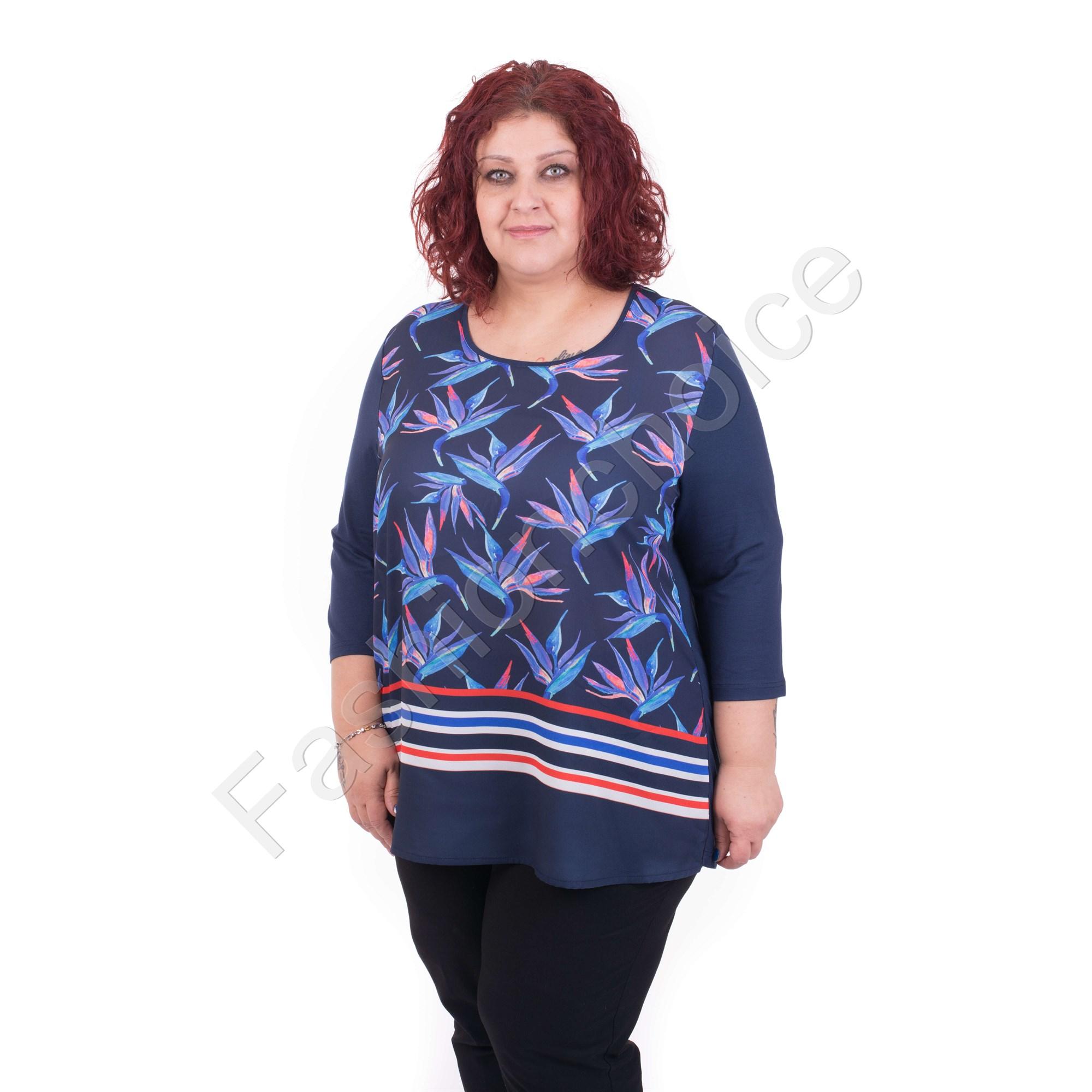 c753adfe0ea9 Κομψή γυναικεία maxi μπλούζα με floral σχέδια