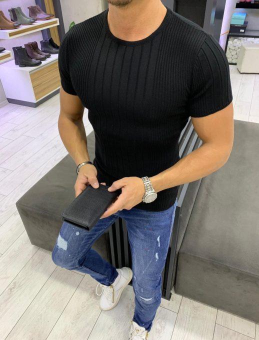 Μάυρη μπλούζα με σχέδιο στην ύφανση