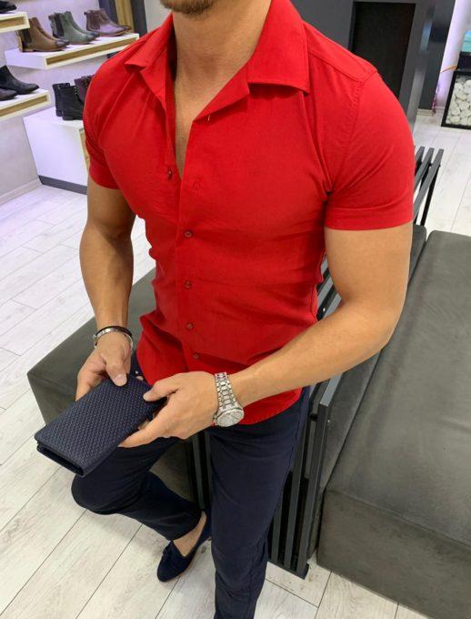Κόκκινο ανδρικό πουκάμισο super slim