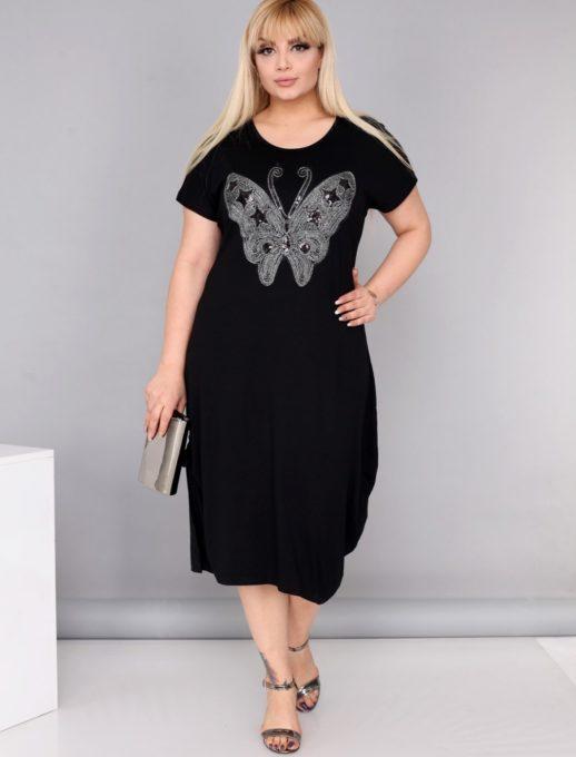 Μάυρο φόρεμα με πεταλούδα κωδ 710-213