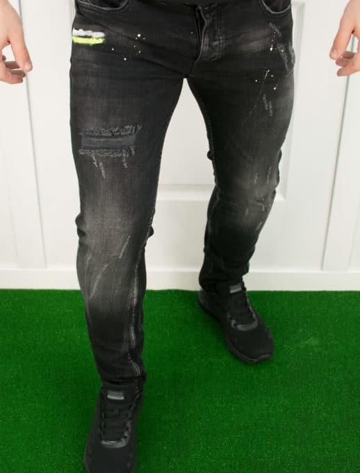 Skinny black τζιν με μπαλόματα κωδ 718-2009