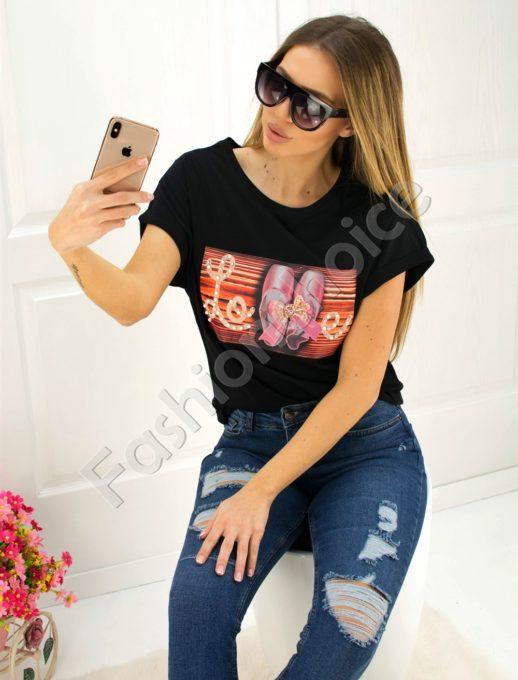 Μάυρο T-shirt με επιγραφή κωδ 707-3007