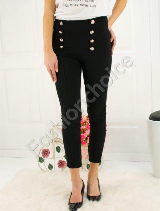 Μάυρο παντελόνι με διακοσμητικά κουμπιά κωδ 268