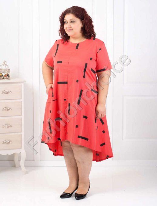 Plus size βαμβακερό φόρεμα σε τρία χρώματα κωδ 529-18220