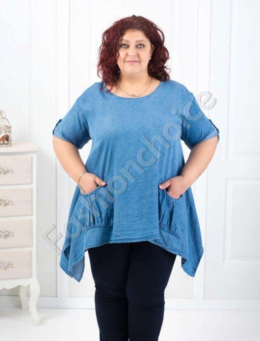 Ασύμμετρη μπλούζα από λεπτό τζιν κωδ 522-1658