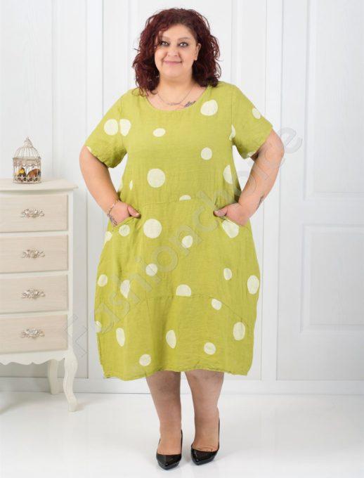 Λινό φόρεμα πουά σε τρία χρώματα κωδ 524-8867