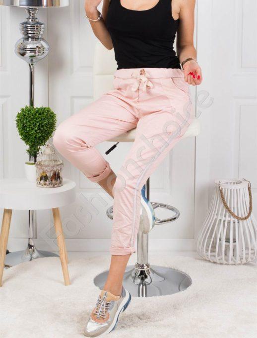Ροζ παντελόνι με πλαΐνη ρίγα κωδ 272-2481-1