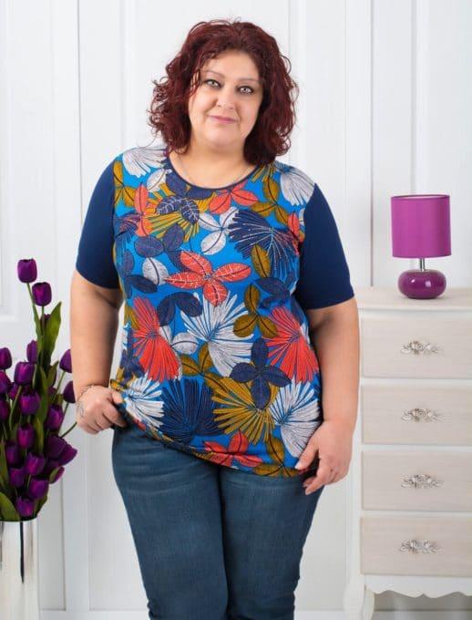 Γυναικεία μπλούζα με λουλούδια /2XL,3XL,4XL,5XL,6XL/ κωδ 711-7058