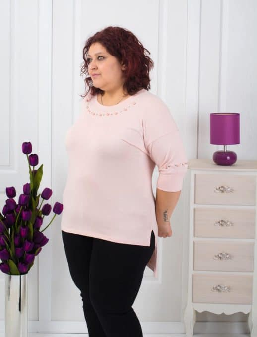 Μπλούζα plus size με πέρλες κωδ 451-8028