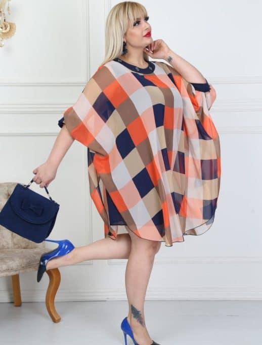 Καρό plus size φόρεμα κωδ 740-12
