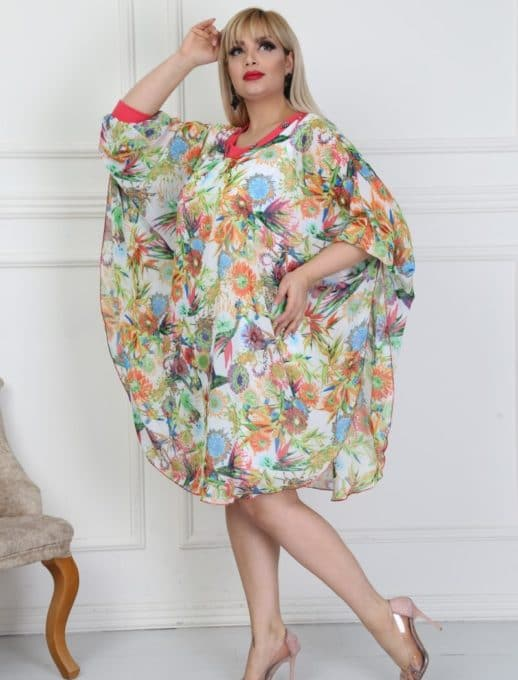 Floral plus size φόρεμα κωδ 740-13