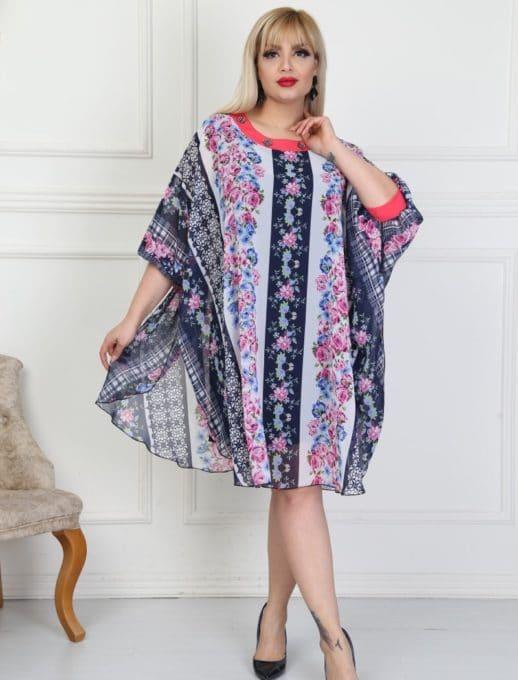 Plus size φόρεμα με λουλούδια κωδ 740-15