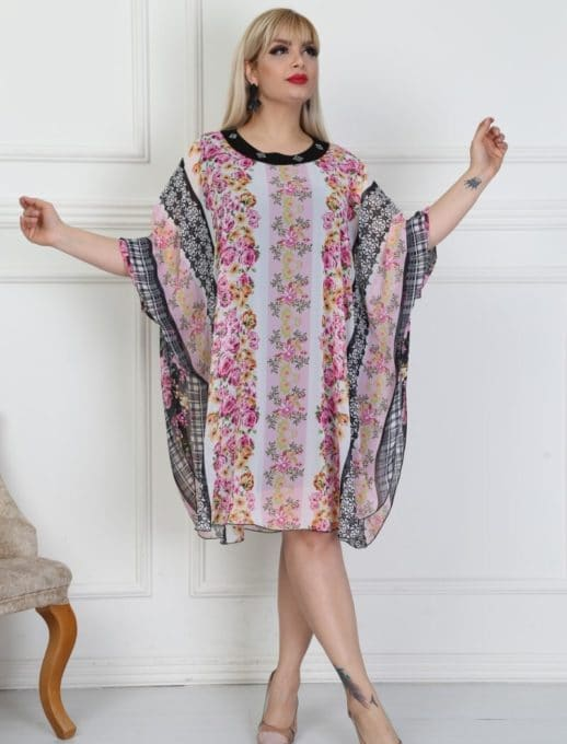 Plus size φόρεμα floral μοτίβο κωδ 740-14