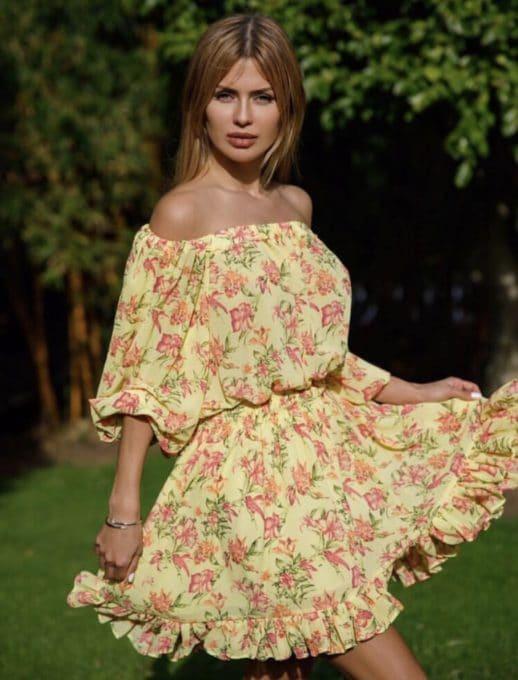 Floral mini φόρεμα κωδ 790-1
