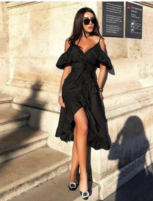 Κρουαζέ μάυρο φόρεμα κωδ 787-3