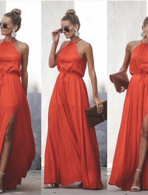 Κοραλί maxi φόρεμα κωδ 787-2