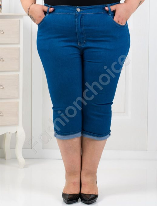 Τζιν παντελόνι κάπρι plus size κωδ 9833