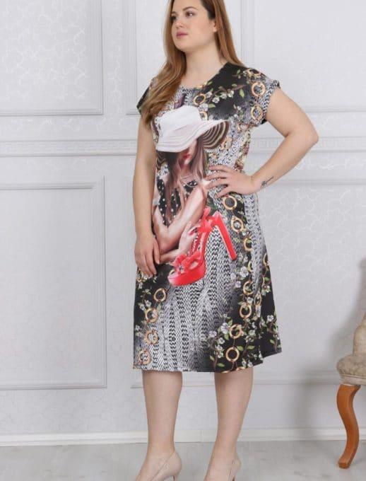 Μοντέρνο φόρεμα plus size με print κωδ 741-11