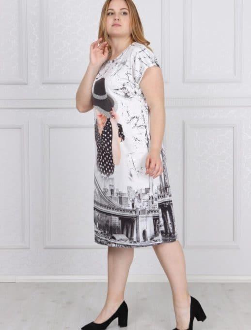 Φόρεμα plus size με εκπληκτικό print κωδ 741-10