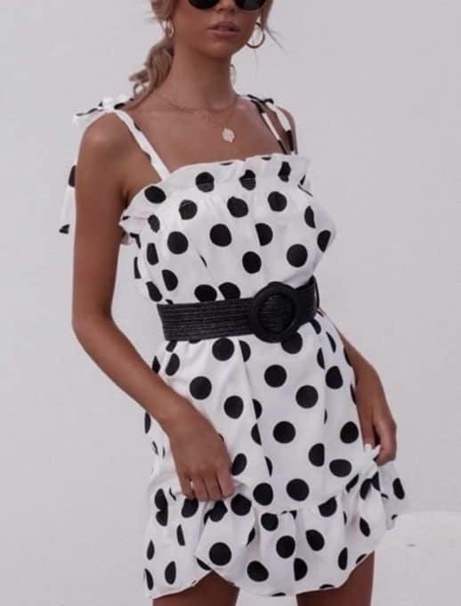 Πουά φόρεμα με βολάν κωδ 816-1062