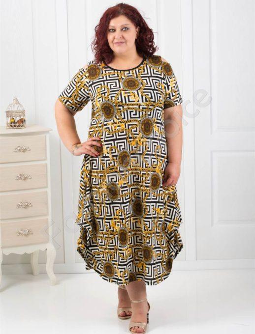 Φόρεμα με σχέδιο μαίανδρος plus size κωδ 824-2