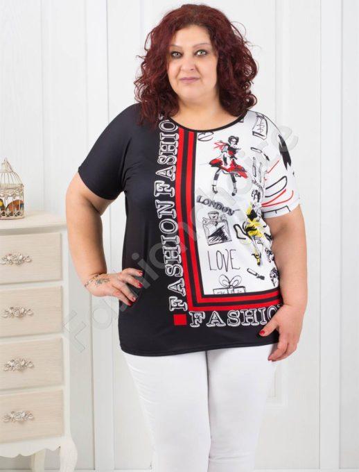 Plus size κοντομάνικη μπλούζα με τύπωμα κωδ 749-4