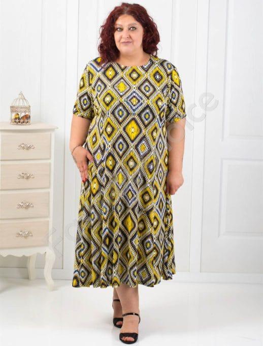 Φόρεμα με γεωμετρικά σχήματα plus size κωδ 6085-5