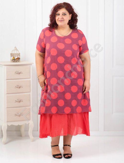 Πουά βαμβακερό φόρεμα σε τέσσερα χρώματα κωδ 18860