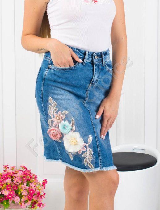 Τζιν φούστα με διακοσμητικά απλικέ κωδ 850-1111