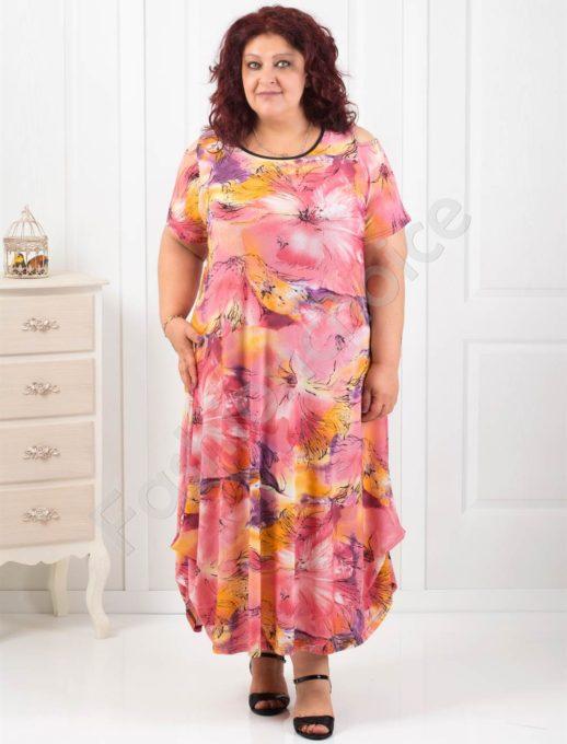 Φόρεμα με ανοιχτούς ώμους με ροζ λουλούδια κωδ 824-6