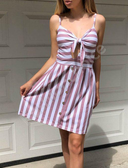 Ριγέ φόρεμα με ιδιαίτερο δέσιμο κωδ 560-1