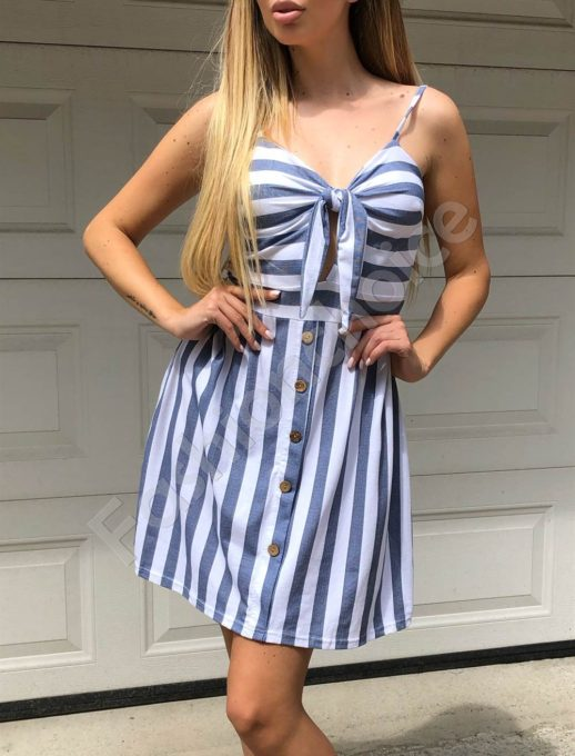 Ριγέ φόρεμα με ιδιαίτερο δέσιμο κωδ 560