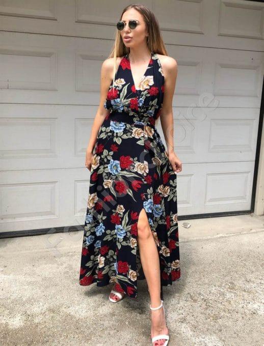 Floral κρουαζέ φόρεμα κωδ 312-837-1