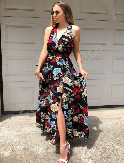 Floral κρουαζέ φόρεμα κωδ 312-837