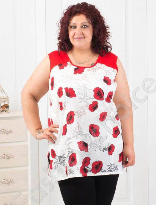 Γυναικείο τοπ με κόκκινα λουλούδια κωδ 1113-1