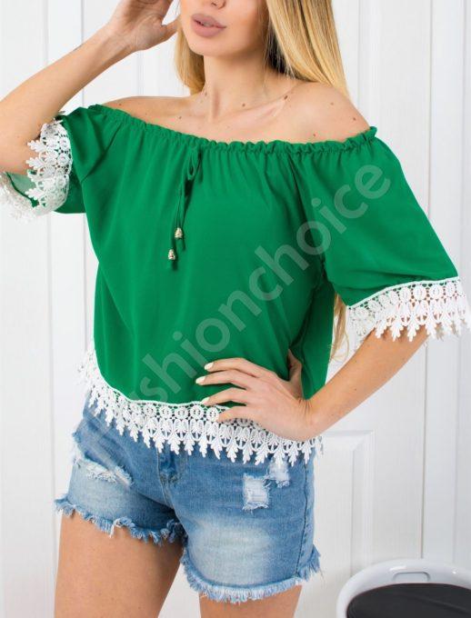 Έξωμη πράσινη μπλούζα κωδ 488