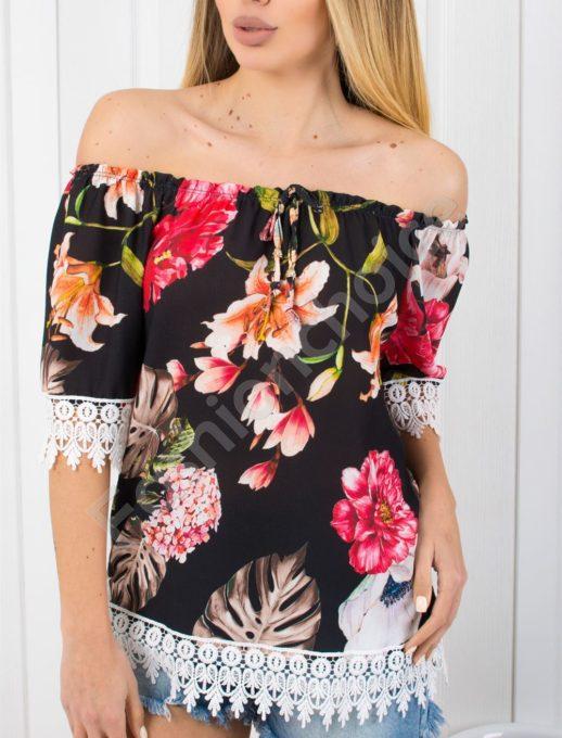 Έξωμη floral μαύρη μπλούζα κωδ 487-4