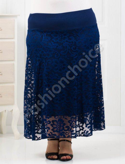 Φούστα plus size δαντέλα σκούρο μπλε κωδ 194-1