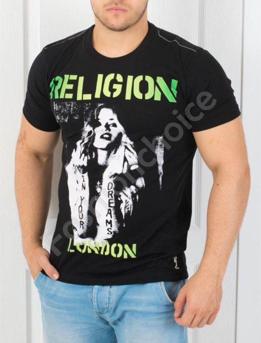 T-shirt μαύρο neon επιγραφή κωδ 852