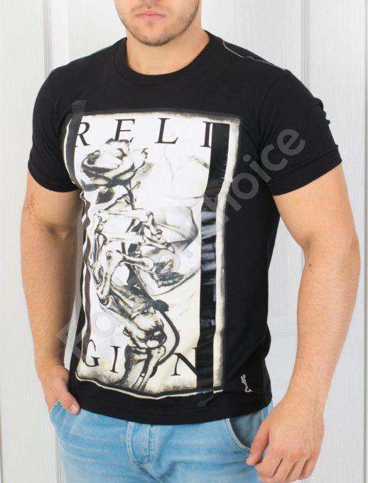 T-shirt μαύρο με στάμπα κωδ 852-2
