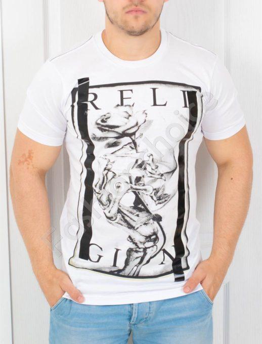 T-shirt λευκό με στάμπα κωδ 852-3