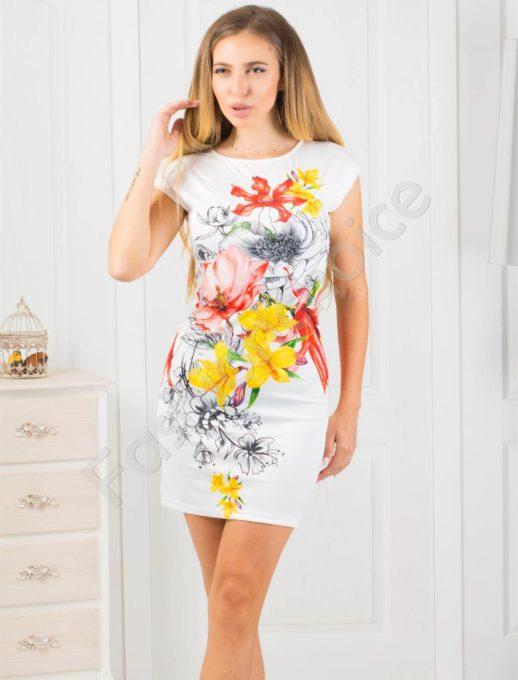 Λευκό mini φόρεμα με floral τύπωμα κωδ 819-5